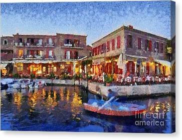 Molyvos Town In Lesvos Island Canvas Print by George Atsametakis