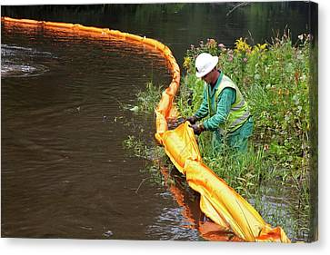 Oil Spill Cleanup Canvas Print by Jim West