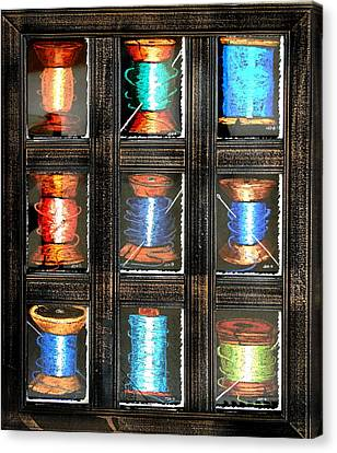 Canvas Print featuring the drawing 9 Spools by Joseph Hawkins