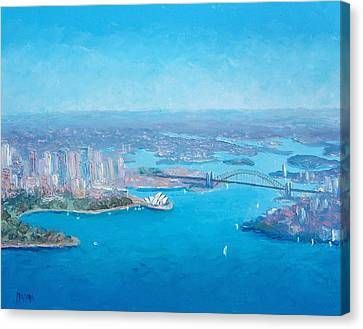 Sydney Harbour And The Opera House Aerial View  Canvas Print