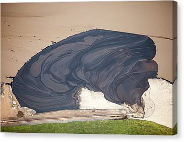 Oil Slick Canvas Print - Tailings Pond At The Syncrude Mine by Ashley Cooper