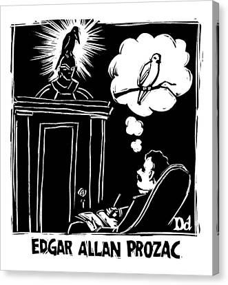 Raven Canvas Print - Edgar Allen Prozac by Drew Dernavich