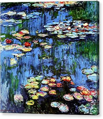Canvas Print featuring the painting Waterlilies  by Claude Monet