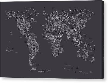 World Map Of Cities Canvas Print by Michael Tompsett
