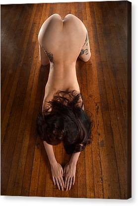 9151 Beautiful Submissive Woman Prostrate On Floor Canvas Print