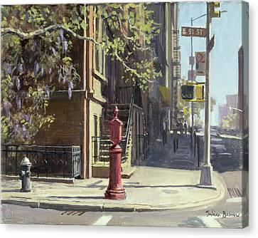 91st Street At Lexington Avenue Oil On Canvas Canvas Print by Julian Barrow
