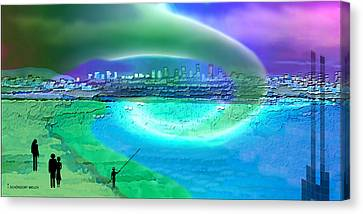 920 - Blue City On The Sea Canvas Print by Irmgard Schoendorf Welch
