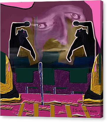 966 - Rage  Canvas Print by Irmgard Schoendorf Welch