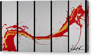 96x49 The Red Dragon  - Black Fire - Huge Signed Art Abstract Paintings Modern Www.splashyartist.com Canvas Print