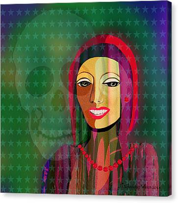 994 -  The   Lady With Beautiful Teeth Canvas Print by Irmgard Schoendorf Welch
