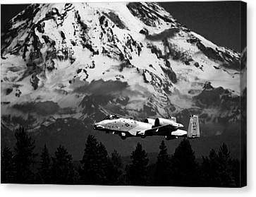 A-10 Over Mt. Rainier Canvas Print by Chris McKenna