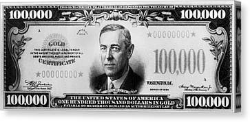 A $100,000 Bill Canvas Print by Underwood Archives