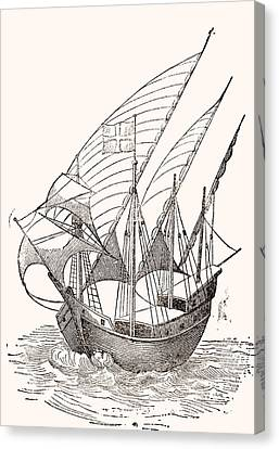 Water Vessels Canvas Print - A 15th Century Caravel  by Spanish School