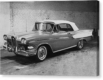 A 1958 Edsel Convertible Canvas Print by Underwood Archives