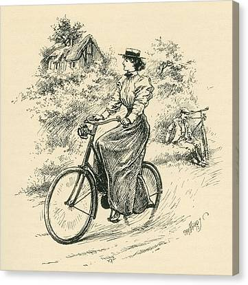 Barn Pen And Ink Canvas Print - A 19th Century Female Cyclist by English School