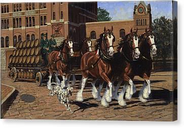 Five Horse Hitch - Dalmation Canvas Print by Don  Langeneckert