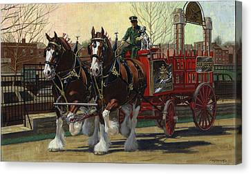 Two Horse Training Wagon Canvas Print