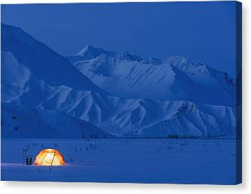 A Backpacking Tent Lit Up At Twilight Canvas Print