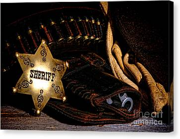 Law Enforcement Canvas Print - A Badge And A Weapon by Olivier Le Queinec