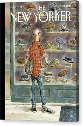 2013 Canvas Print - A Bald Man Shops For Hats by Peter de Seve