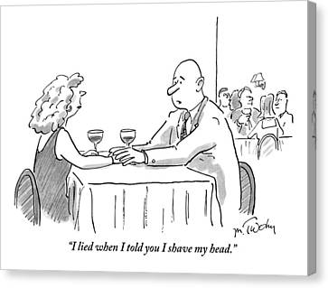 A Bald Man Speaks To A Woman At A Restaurant Canvas Print by Mike Twohy