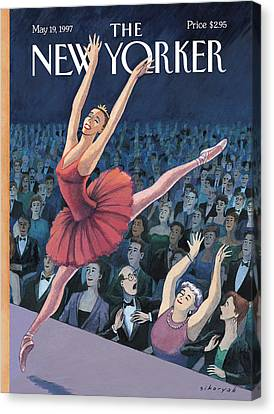 A Ballerina Performs In Front Of An Audience Canvas Print