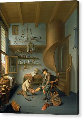 A Barber Surgeon Tending A Peasants Foot, C.1650 Panel Canvas Print