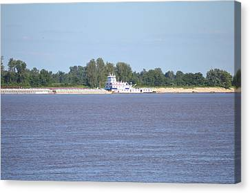 A Barge On The Mississippi River Canvas Print