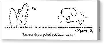 A Barking Dog Runs Towards A Squirrel Who Faces Canvas Print by Charles Barsotti