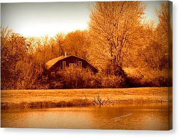 A Barn On The Lake Canvas Print