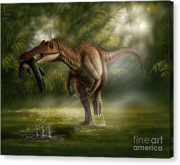 Food In Mouth Canvas Print - A Baryonyx Dinosaur Catches A Fishin by Yuriy Priymak