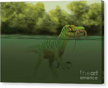 A Baryonyx Escapes Swimming Canvas Print by Alvaro Rozalen