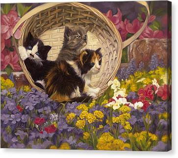 Basket Of Flowers Canvas Print - A Basket Of Cuteness by Lucie Bilodeau