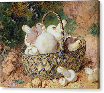 Button Mushrooms Canvas Print - A Basket Of Mushrooms, 1871 by Jabez Bligh