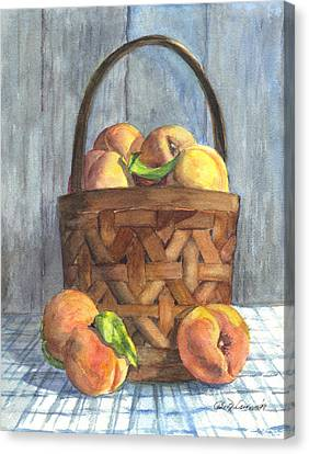 A Basket Of Peaches Canvas Print by Carol Wisniewski