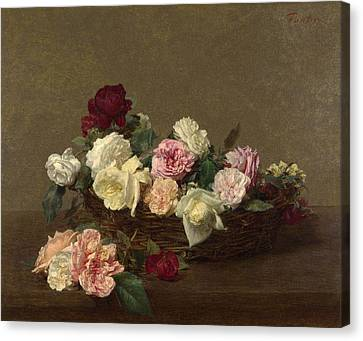 A Basket Of Roses Canvas Print
