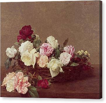 Basket Of Flowers Canvas Print - A Basket Of Roses by Ignace Henri Jean Fantin-Latour