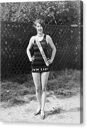 A Bathing Suit With Advertising Canvas Print by Underwood Archives