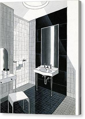 Faucet Canvas Print - A Bathroom For Kohler By Ely Jaques Kahn by Urban Weis