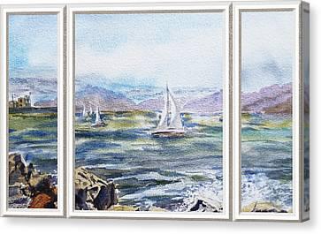 A Bay View Window Rough Waves Canvas Print by Irina Sztukowski