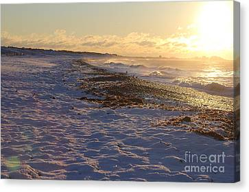 A Beachy Sunrise In The Winter Canvas Print