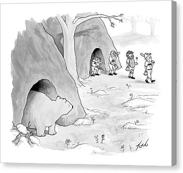 A Bear Emerges From A Cave Canvas Print