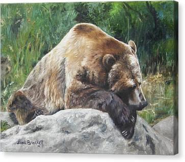 A Bear Of A Prayer Canvas Print by Lori Brackett