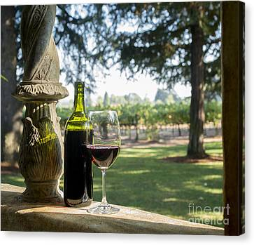 Wine Bottle Canvas Print - A Beautiful Day In Napa by Jon Neidert