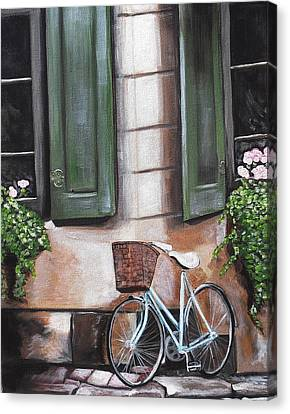 Bicycle With Flowers Canvas Print - A Beautiful Day In The Neighborhood by Melissa Torres