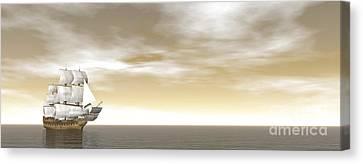 A Beautiful Old Merchant Ship Sailing Canvas Print by Elena Duvernay