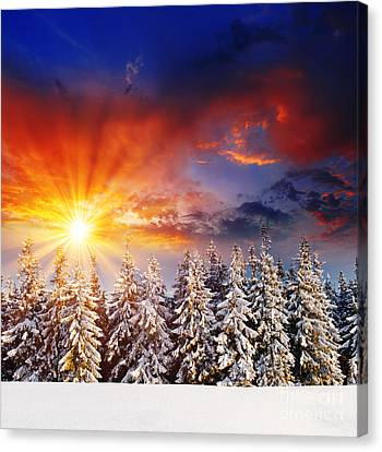 A Beautiful Sunset In The Winter Canvas Print by Boon Mee