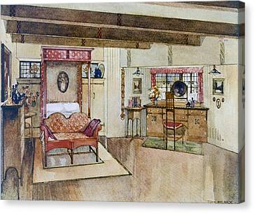 A Bedroom In The Arts & Crafts Style Canvas Print by Tom Merry
