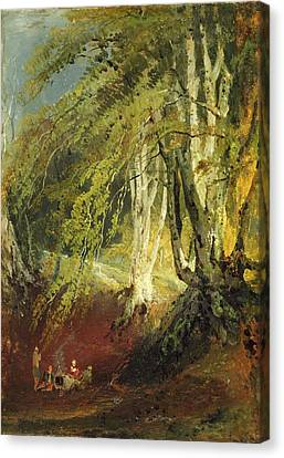 A Beech Wood With Gypsies Seated Round Canvas Print by Joseph Mallord William Turner