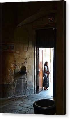 A Beggar At The Door Of A Church Canvas Print by RicardMN Photography